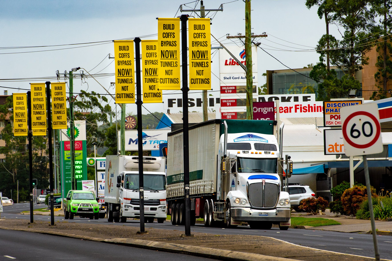 Coffs Harbour City Council today has its bypass banners up around the city.