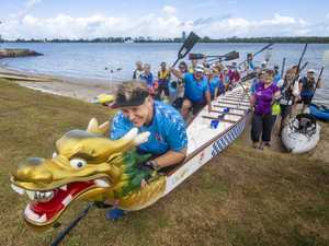 Judy Keeley makes sure her dragonboat is ready as her