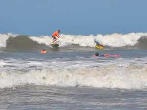 Surf Coach Pat Eastwood was thrilled to see waves on