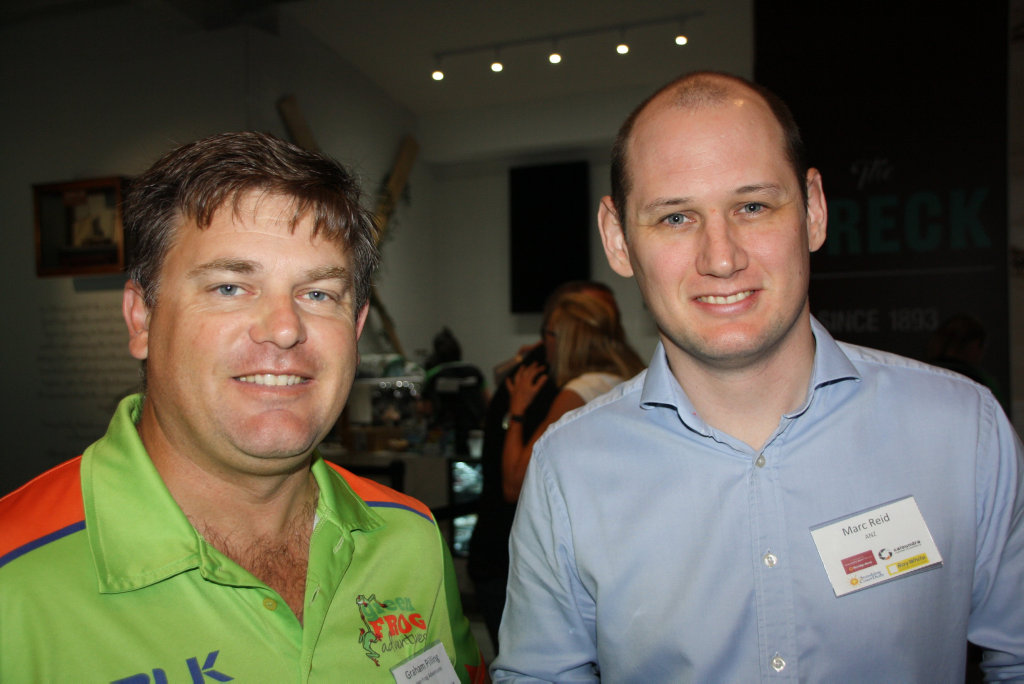 Image for sale: Graham Pilling of Green Frog Adventures and Marc Reid of ANZ ***at the Caloundra Chamber of Commerce Breakfast of Champions business meeting at Dicky Beach Surf Club.