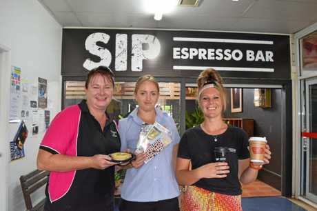 NEIGHBOURS: Working a symbiotic relationship at the Alice St complex are Bakery on Alice shop assistant Michelle Stackman, IGA manager Jess Hall and SIP manager Amy Phillipson.