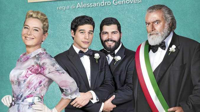 ABOVE: Artwork for the Italian film My Big Gay Italian Wedding.