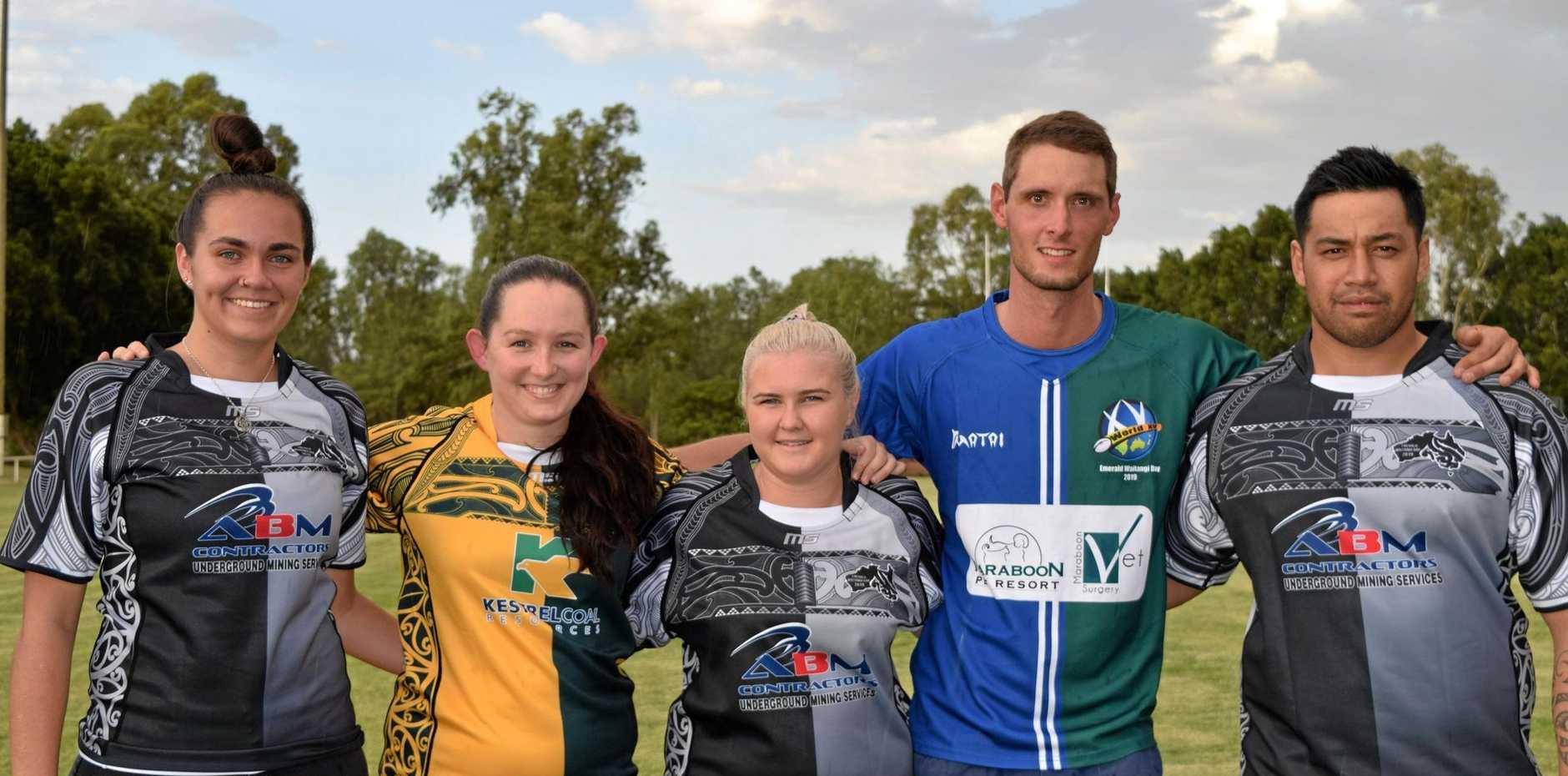 READY: Ricki Reggardo, Amy O'Loughlin, Miccala Forbes, Mitchell Smith and Meirana Parata get set for Emerald's Waitangi Rugby Day.