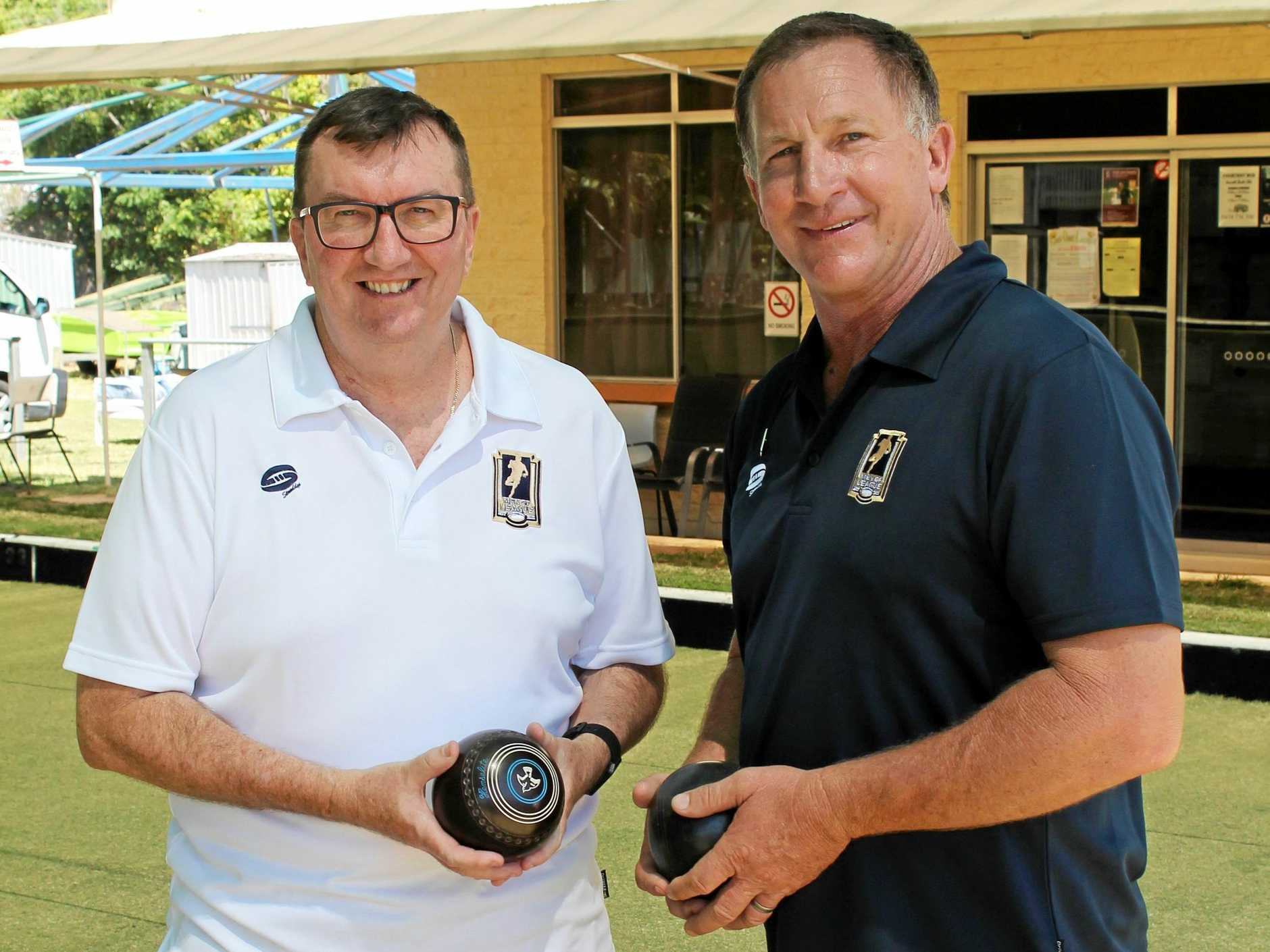 BOWLED OVER: MOL QLD Wellbeing manager Mark Bunting with CH MOL patron Alan McIndoe. INSET: Clint Day from Kestrel Rhinos with CH MOL president Mick Roach.