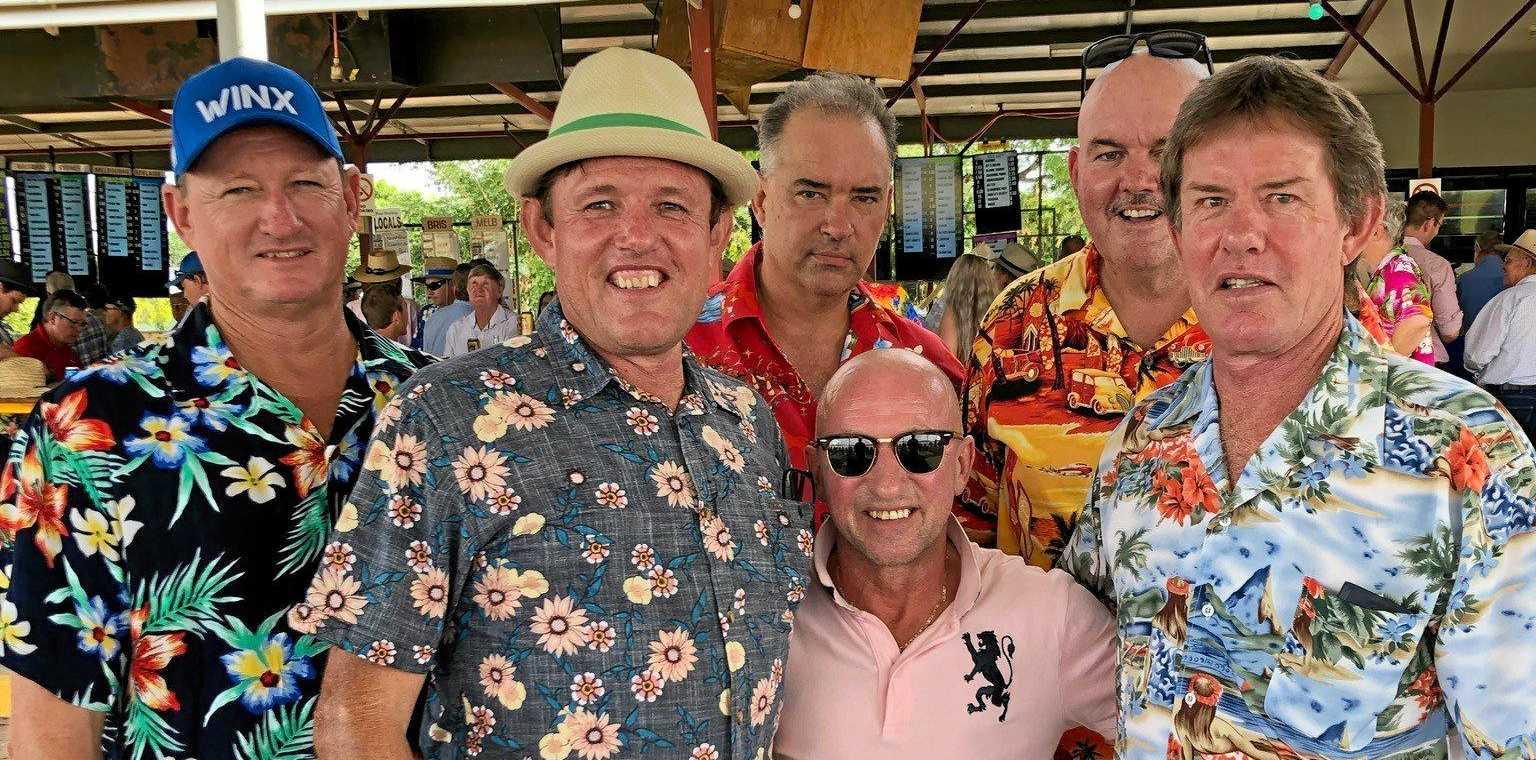 TRACK TALK: Steve Daley, Kevin Brown, Tim Rose, Michael Brunker, Pumper Cassidy and Robbie Brown enjoy the races.