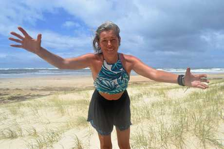 BRING IT ON: Izabela Lorenc from Redcliffe has been camping at Inskip Point for a week but was yesterday packing up and heading to Hervey Bay to finish her holiday.
