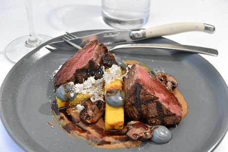 A main meal of eye fillet steak at Tides Waterfront Dining.
