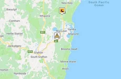 CRASH: Location of a collision between a truck and three vehicles on the Pacific Highway near Tyndale.