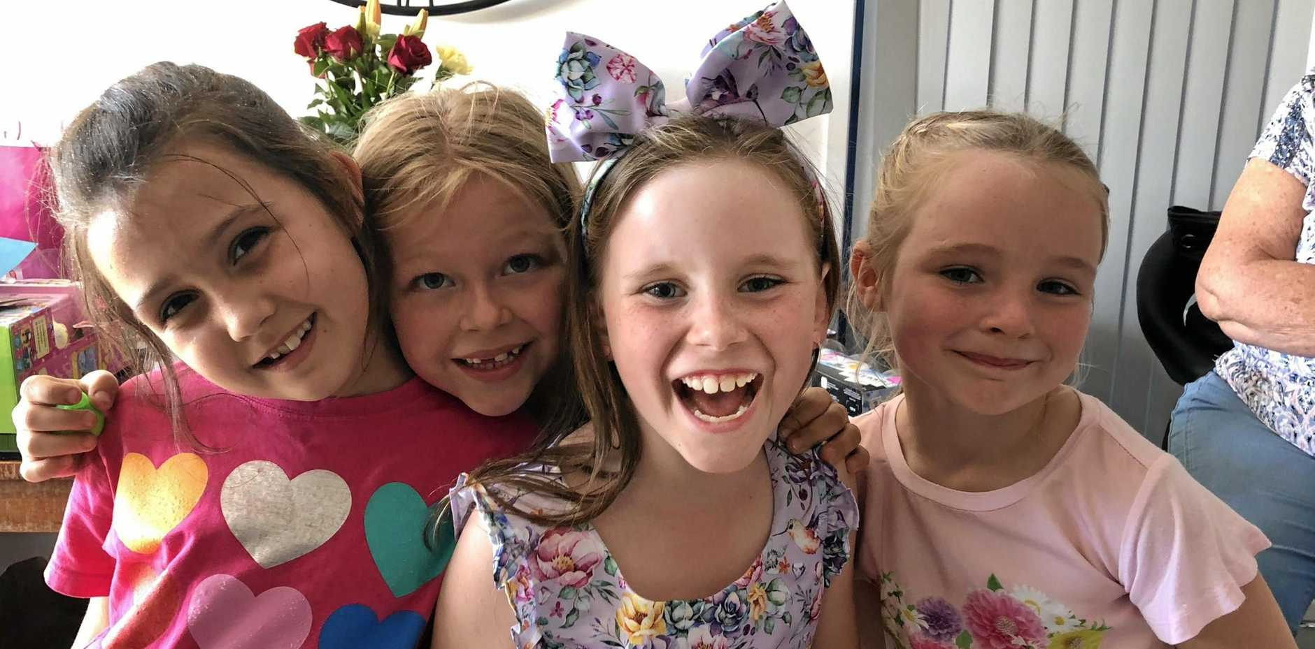 Olivia Douglas (centre, right), with her friends Brydee (left), Miley (centre, left) and Olivia's cousin Amelia (right) in much happier times.