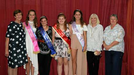 Killarney Showgirl judge Bernadette Carey, Junior Showgirl Abbie Giblin-Lloyd, Showgirl Penny Edwards, Showgirl Runner-up Harmony Watts, Junior Showgirl Runner-up Erin Giblin-Lloyd, judge Terri Shannahan and Killarney Show and Rodeo president Jan Hamilton at the showgirl judging on Saturday.