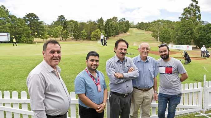 MAKING CONNECTIONS: Enjoying the golf at the Queensland PGA Championship as part of PEACE's inaugural social men's group meeting are (from left) Dakhil Al Ali, Waheed Rash, Faez Hasso, Angus Lucas and Arkan Shekh Abdi.