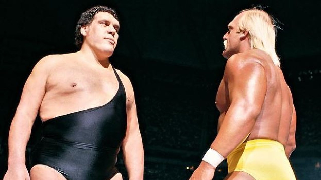Hogan and Andre the Giant in the Ring. Picture: Supplied