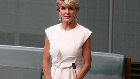 Julie Bishop announcing her intention to quit politics. Picture: Kym Smith