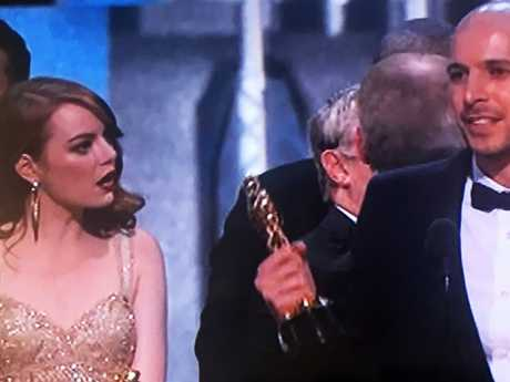 Emma Stone's priceless reaction during the infamous 2017 Best Picture fail.