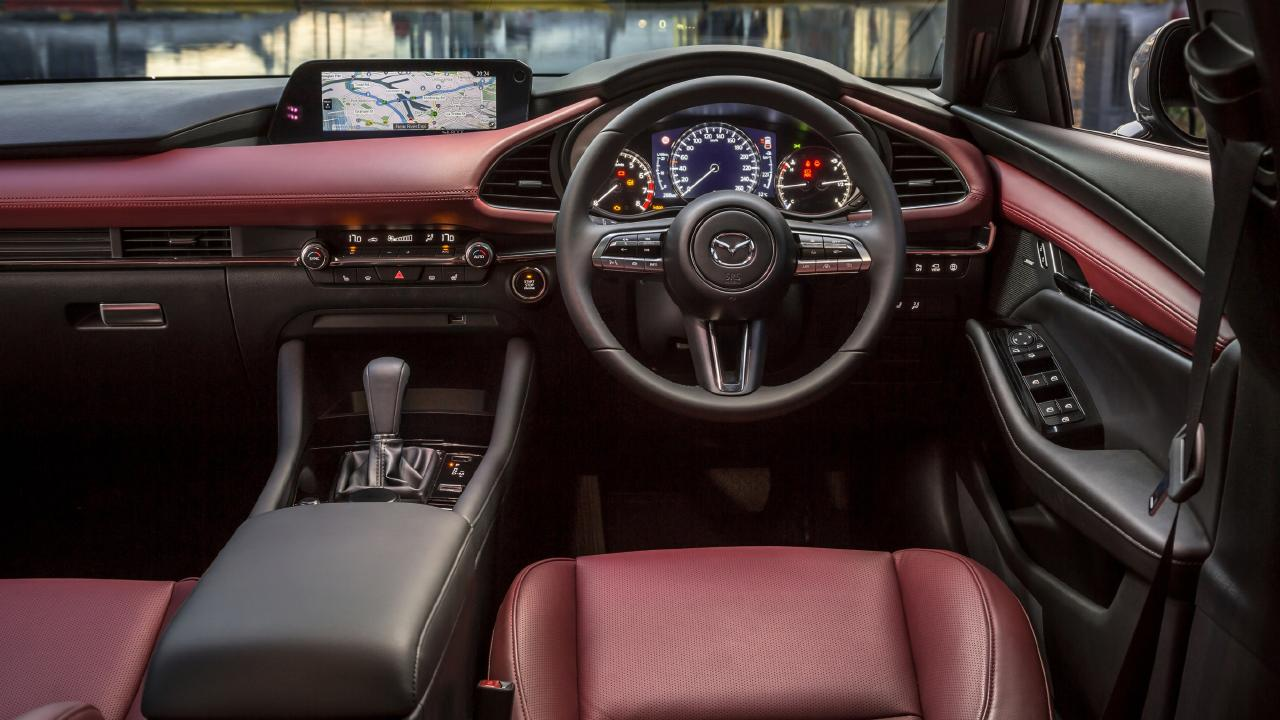 Premium Mazda3 variants are available with burgandy-coloured leather.