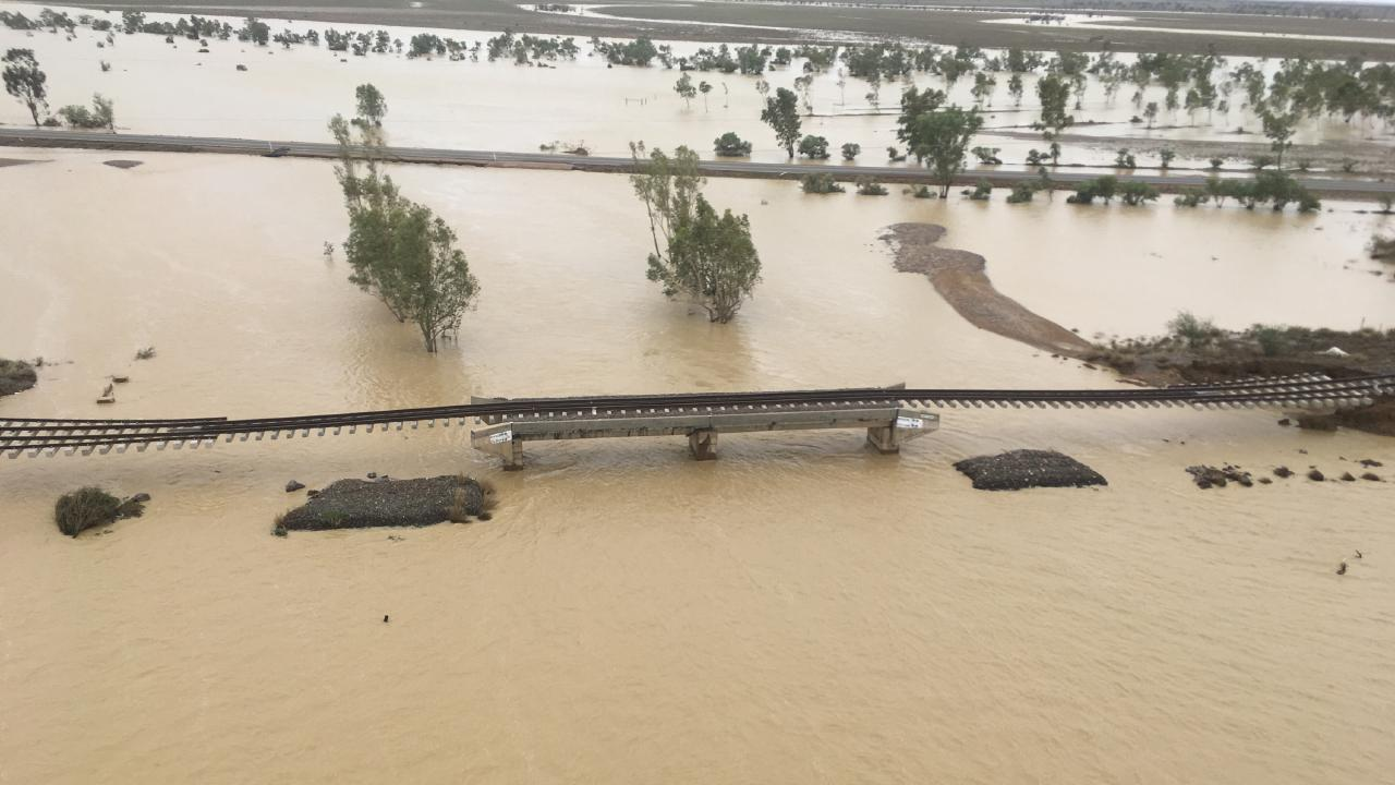A view over a bridge washout on the Mount Isa rail line near Julia Creek taken on February 7.