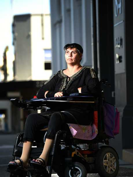 Tania Hornberg is unhappy as she was unable to take her electric wheelchair on a QANTAS flight as it was unable to fit in the baggage compartment. Picture: Zak Simmonds