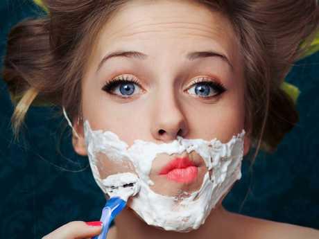Lady face shaving …