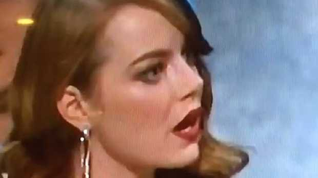 Emma Stone realises the twist ending to the announcement of the winner of Best Picture at the Oscars. Picture: Twitter