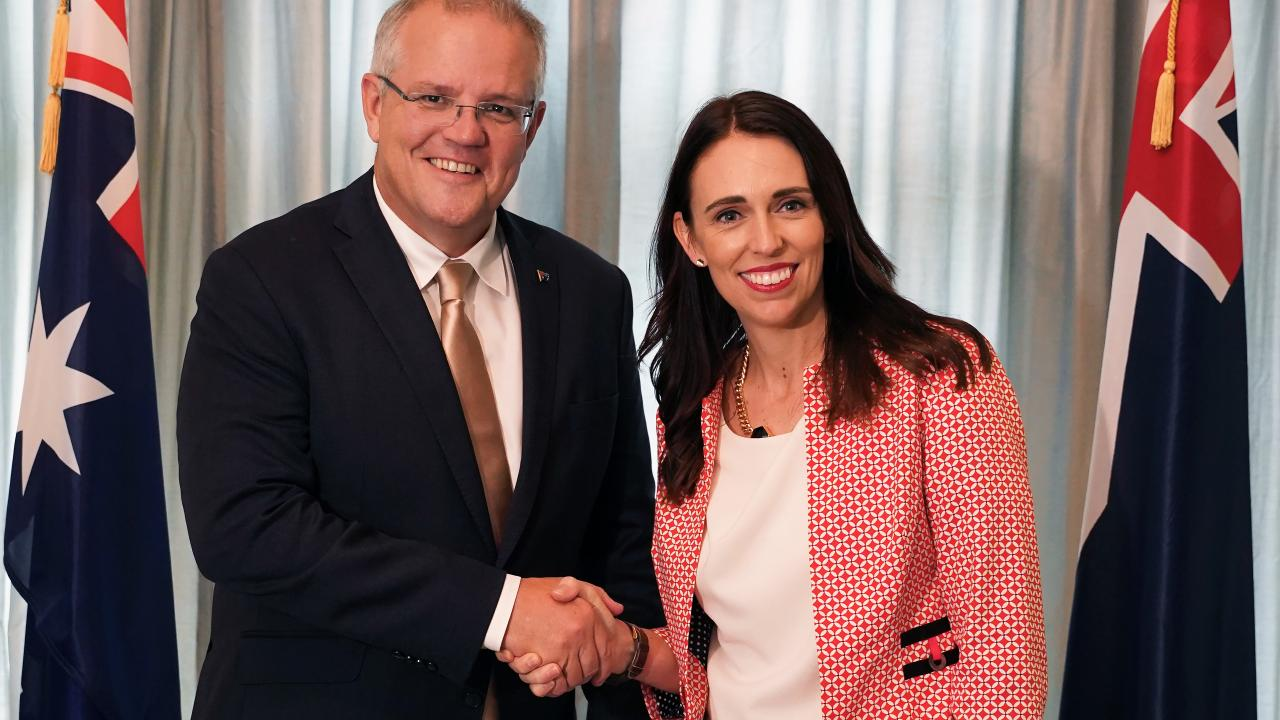Scott Morrison and Jacinda Ardern at the annual Prime Ministers' Talks at Government House in Auckland. Picture: Diego Opatowski/AAP