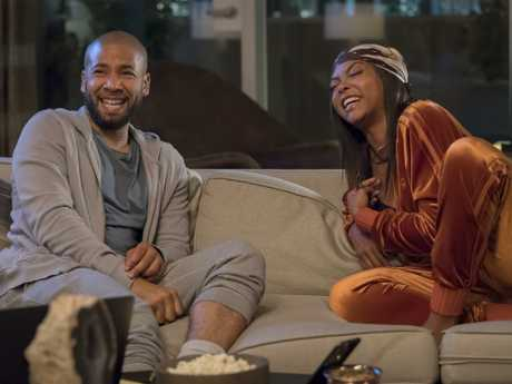 This image released by Fox shows Jussie Smollett, left, and Taraji P. Henson in a scene from the The Depth of Grief episode of Empire. Picture: Fox via AP