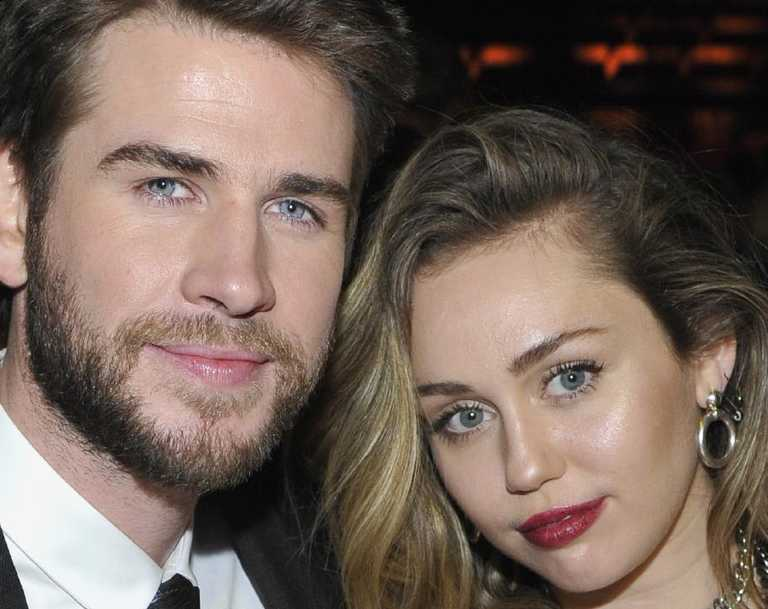 Liam Hemsworth (L) and Miley Cyrus at G'day USA Gala in January. Picture: Getty