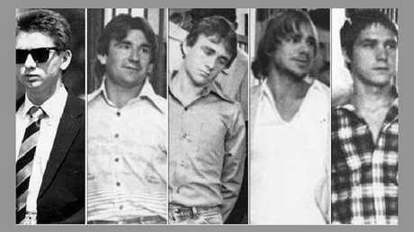 Five men who murdered Anita Cobby in 1986. From left: John Travers, Michael Murphy, Leslie Murphy, Gary Murphy and Michael Murdoch.