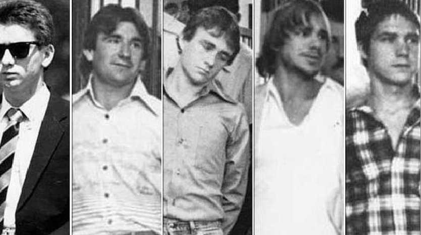 The five men who murdered Anita Cobby in 1986. Michael Murphy is second from the left.