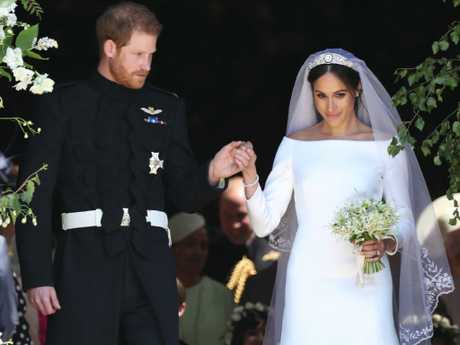 Prince Harry and his wife, Meghan, leave St George's Chapel after their wedding. Picture: Getty