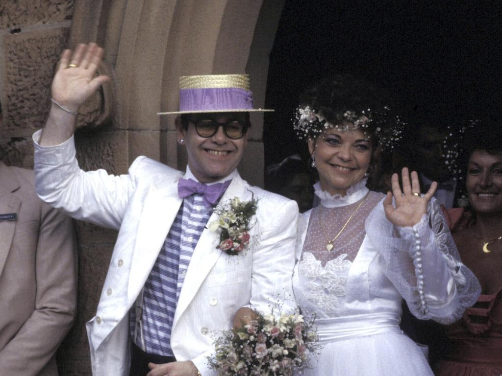 How they actually were: Elton and Renate on their wedding day. Picture: Patrick Riviere/Getty Images