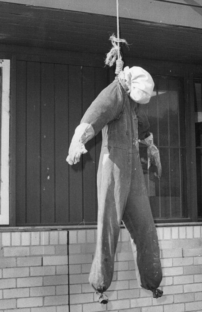 Effigy hanging from a noose erected by angry mob following the murder of Anita Cobby, who was almost decapitated when her throat was slit by John Travers.