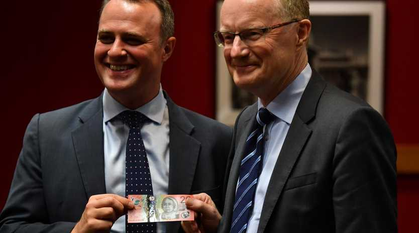 RBA governor Dr Philip Lowe, right, and committee chair Tim Wilson MP, as he addresses the House of Representatives Standing Committee on Economics at NSW State Parliament in Sydney on Friday, February 22, 2019. Picture: Dean Lewins/AAP