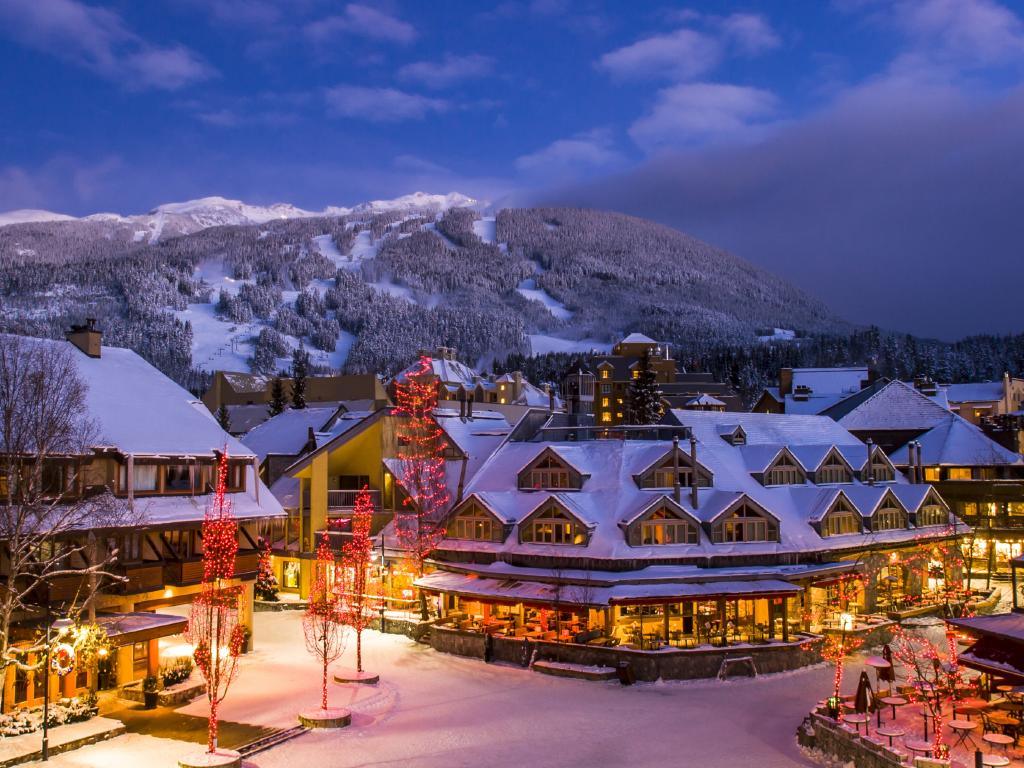 The scenic Whistler village with snowy Blackcomb mountain in background. Picture: iStock