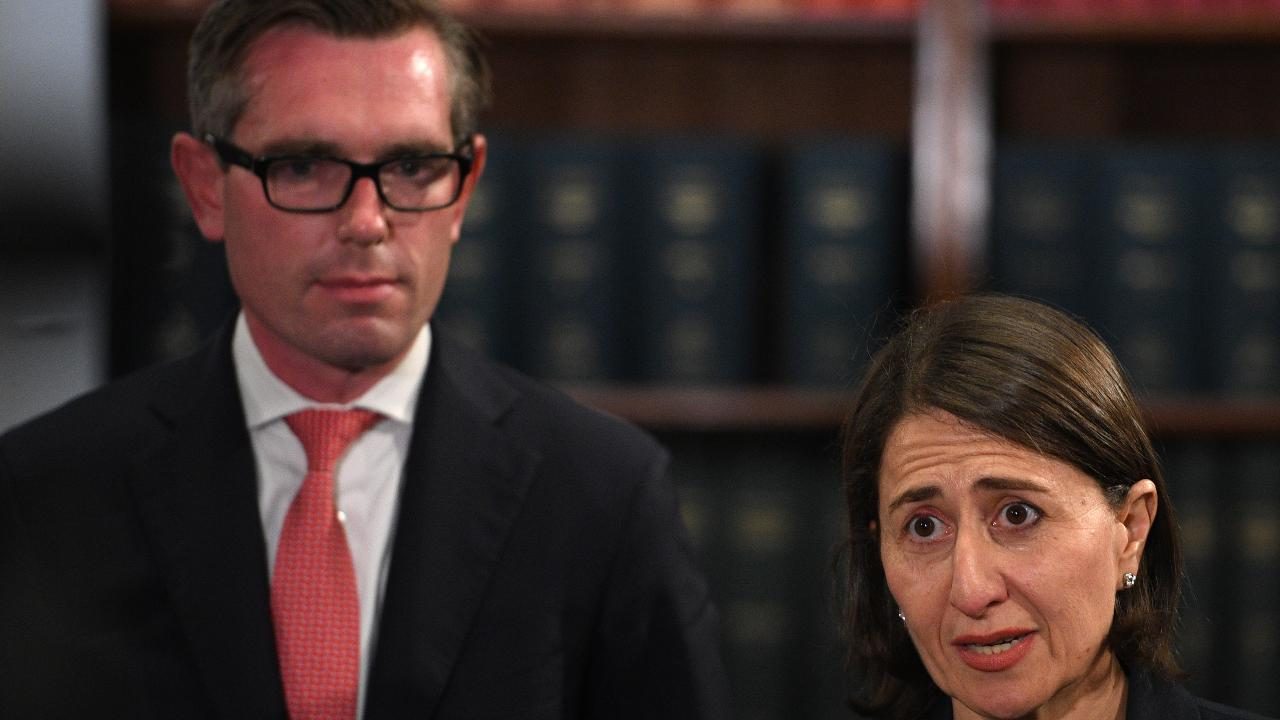 NSW Premier Gladys Berejiklian and Treasurer Dominic Perrottet yesterday. Picture: AAP