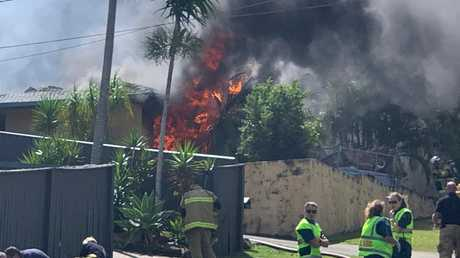 The second house on fire. Picture: Adam Guiver