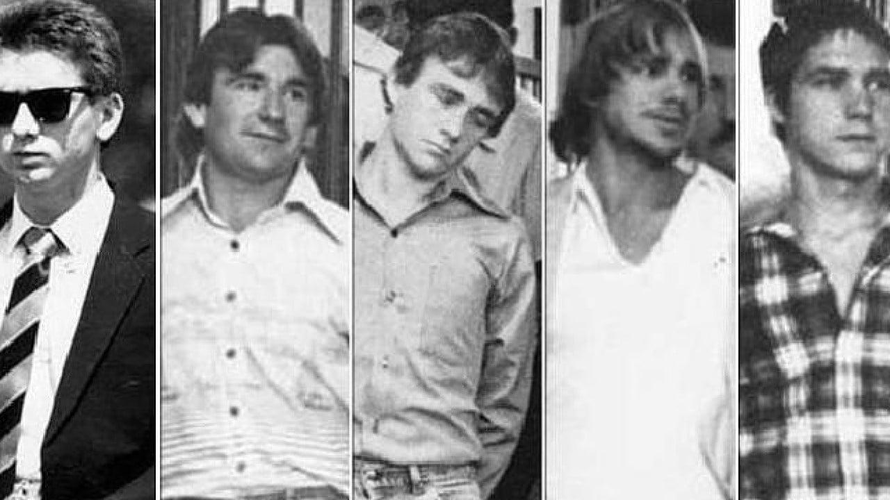 The five who murdered Anita Cobby in 1986 (from left) John Travers, Michael Murphy, Leslie Murphy, Gary Murphy and Michael Murdoch.