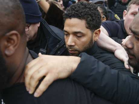 Jussie Smollett leaves a Chicago jail following his release on Thursday, February 21. He was charged with disorderly conduct and filling a false police report. Picture: AP