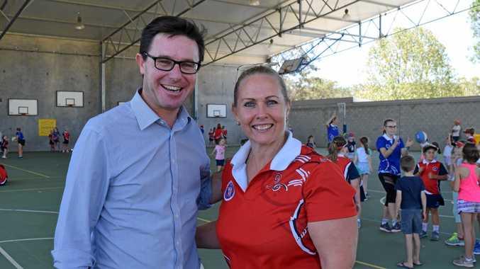 COURT UPGRADE: Much needed funds going to Warwick netball courts, Maranoa MP David Littleproud and Linda Bunch, Warwick Netball Association secretary.