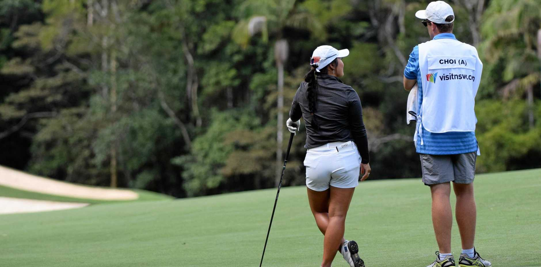 HELPING HAND: Doey Choi chats with caddie Amos Hessell on day three at the 2019 Pacific Bay Resort Australian Ladies Classic Bonville.