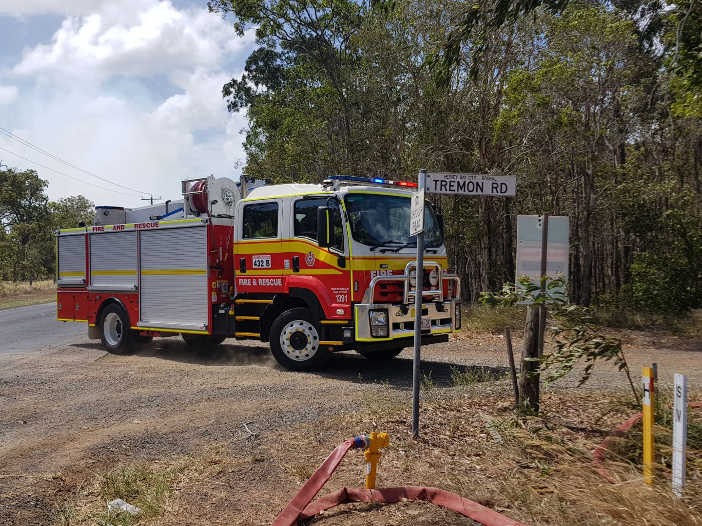Firefighters on the scene of a blaze along River Heads Rd and Tremon Rd in Booral