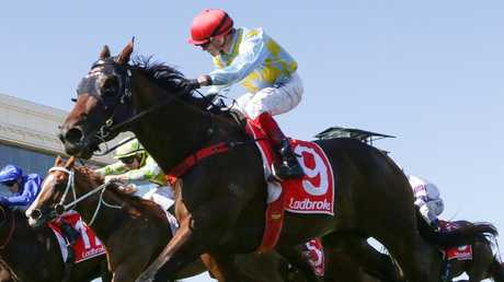 Dean Yendall steers Booker to victory in the Oakleigh Plate. Picture: AAP