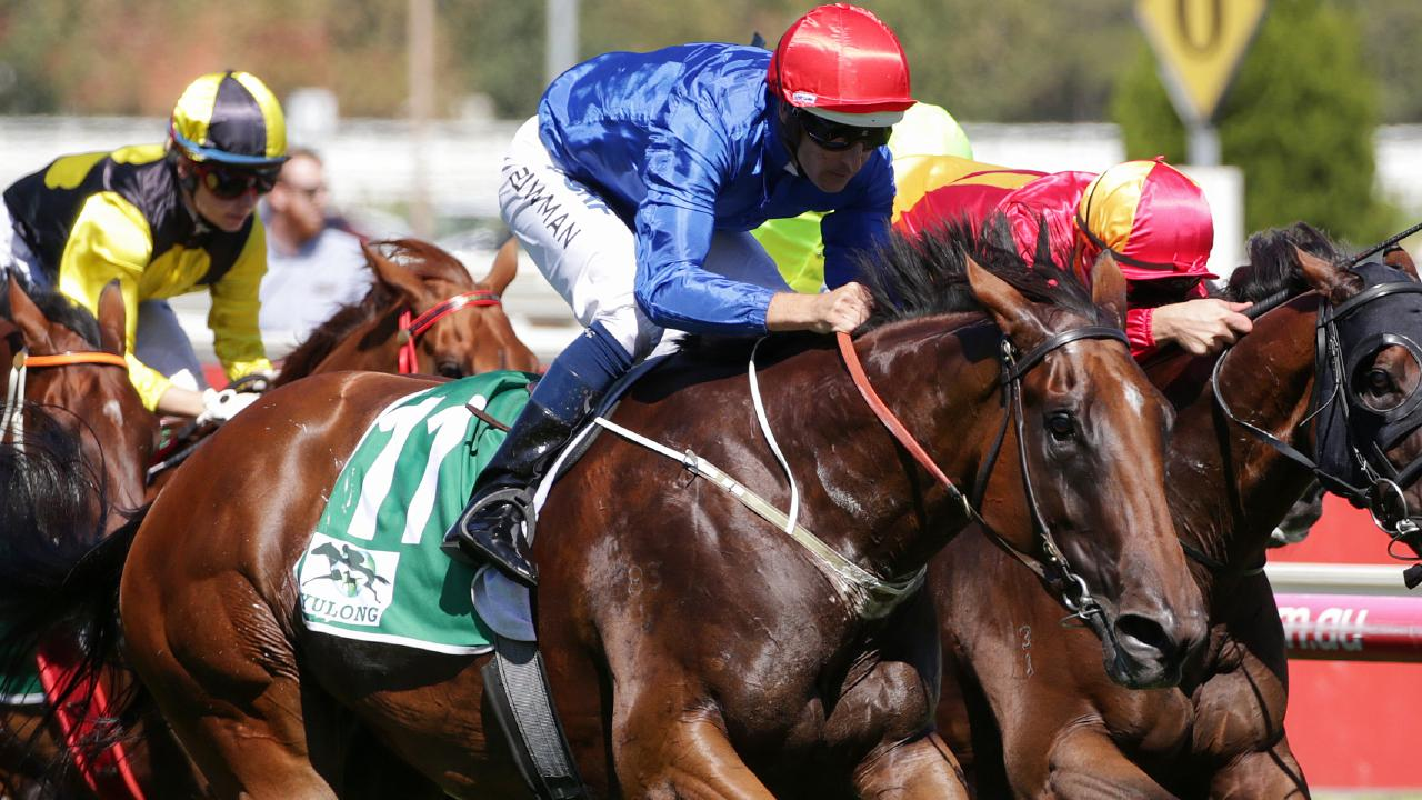 Hugh Bowman rides Alizee to victory in the Futurity Stakes at Caulfield on Saturday. Picture: George Salpigtidis/AAP