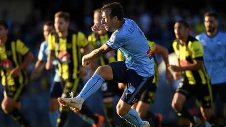 Sydney striker Adam Le Fondre blasts home his penalty. Picture: AAP