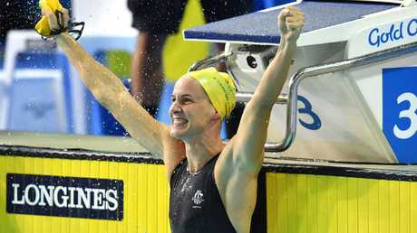 Bronte Campbell celebrates after winning gold in the women's 100m freestyle at the Gold Coast Commonwealth Games.