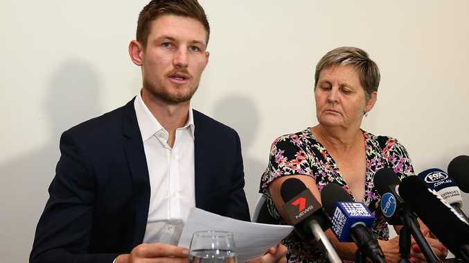 Cameron Bancroft addresses the media on March 29 last year following his return to Perth from South Africa. Picture: Paul Kane/Getty Images