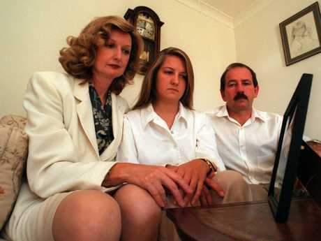 Carol, Amanda and Don Spiers, above at their South Perth home, were initially hopeful of locating Sarah, whose body has never been found.