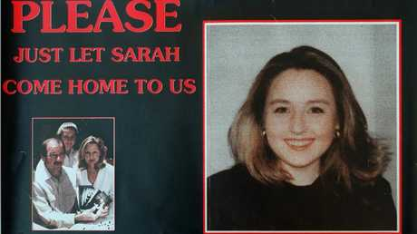 Poster of missing teenager Sarah Spiers with inset of her parents Don and Carol and sister, Amanda.