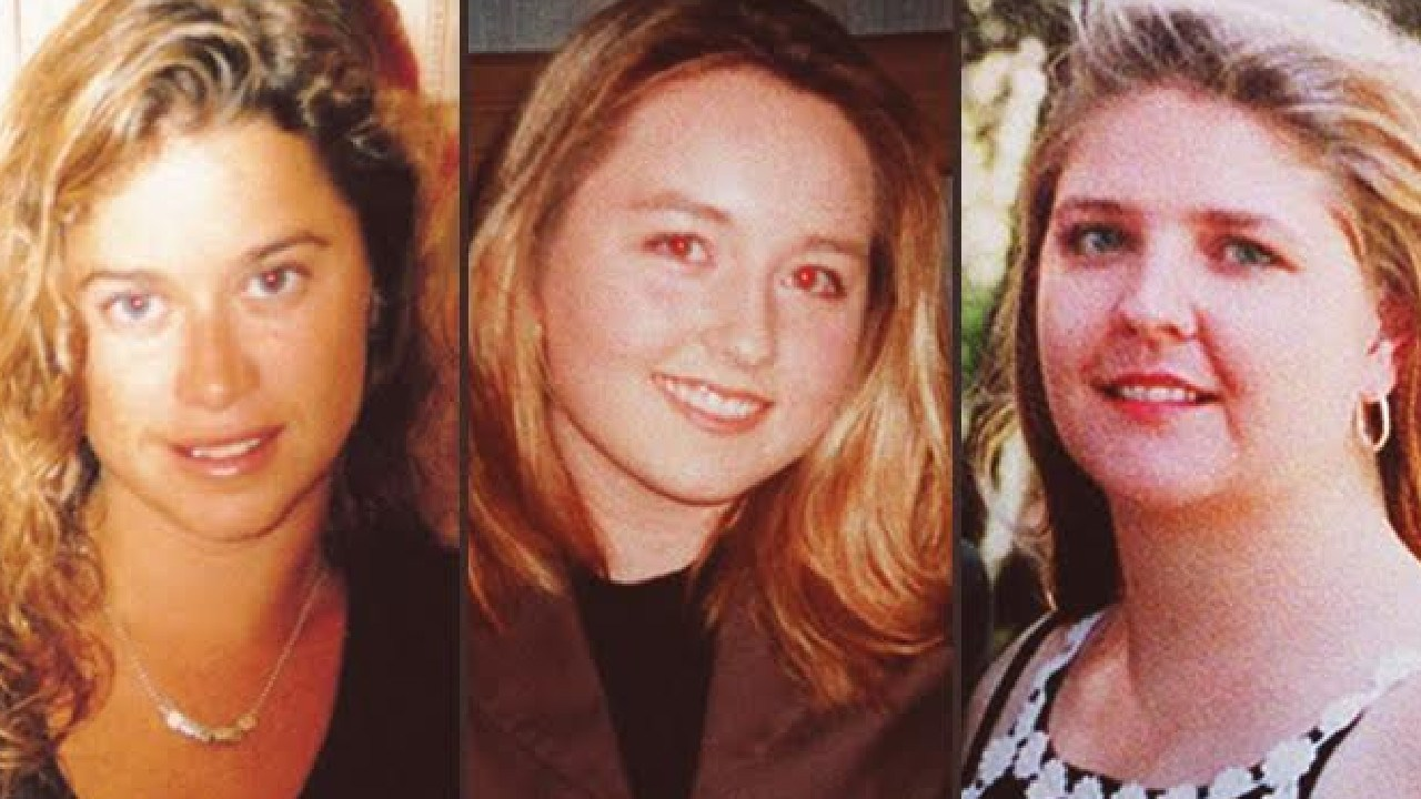 The three girls who vanished: Ciara Glennon (left) in 1997 and Sarah Spiers (centre) and Jane Rimmer in 1996.
