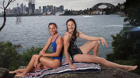 Bronte and Cate Campbell at McCallum Pool in Cremorne Point. Picture: Phil Hillyard