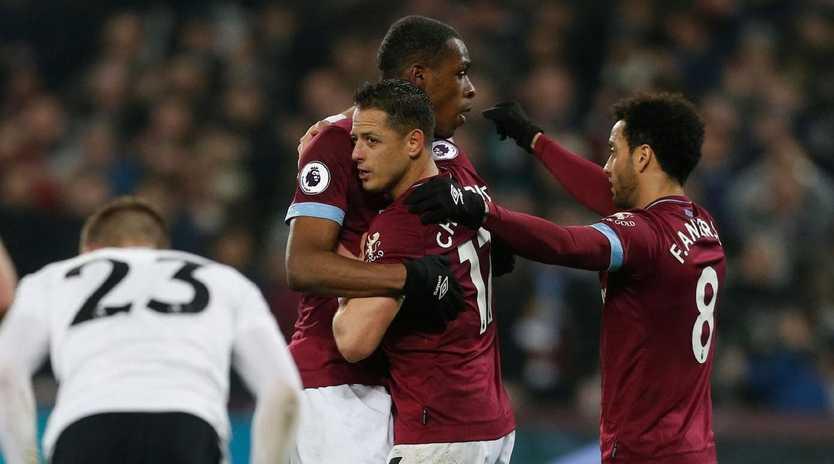West Ham United's Mexican striker Javier Hernandez celebrates after scoring.